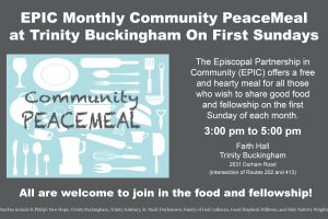 Episcopal Partnership In Community (EPIC) Hosts New Monthly Community PeaceMeal First Sundays 3 to 5 pm