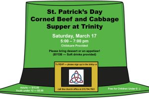 St. Patrick's Day Corned Beef and Cabbage Supper — Saturday, March 17th @ 5:00 – 7:00 pm
