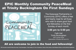 The EPIC PeaceMeal — You Are Invited to a Free and Hearty Meal for the Local Community first Sundays, 3 pm to 5pm