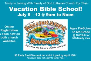 Early Registration is Open for Vacation Bible School with Family of God Lutheran Church  :)